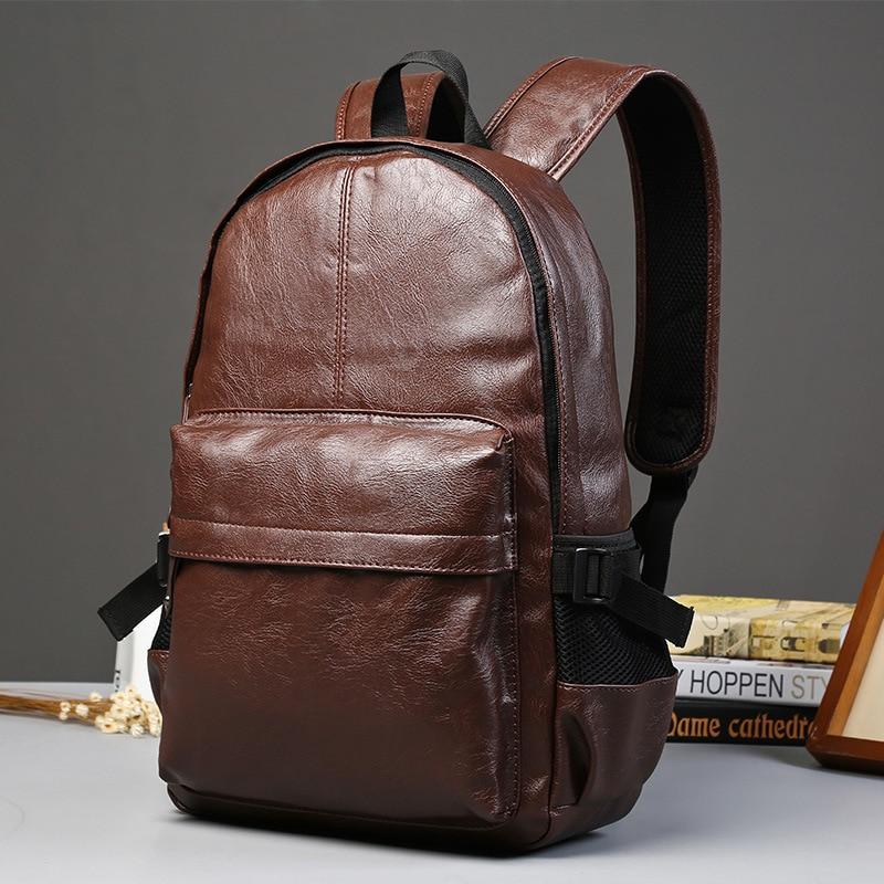 ETONWEAG Brands Cow Leather School Backpacks For Boys Brown Luxury School Bags Vintage BagPack Travel Laptop Bag Back To School<br>