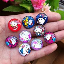Free shipping! handmade hello kitty photo glass cabochon 30pcs  samples 20mm  for Bowknot center  decoration DIY