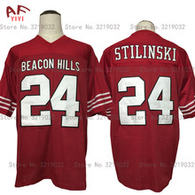 AIFEIYIYI Throwback American Football Jersey Stilinski 24 TEEN WOLF TV Series Beacon Hills Lacrosse Jersey Maroon Stitched Shirt(China)