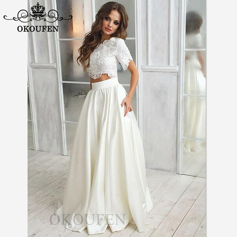 2019 Beach Two Piece Wedding Dress With Short Sleeves 2019 White Lace Top and Satin Skirt Long Bridal Dresses For Women