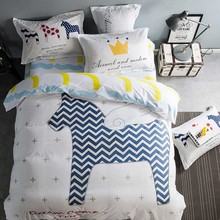2017 Cartoon 100% Cotton Bedding sets Duvet cover Quilt horse Colorful Spotted cat Bed sheet Pillowcase Queen bed sheets(China)
