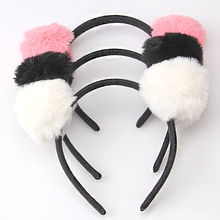 C M MISM Girls Shaped Cat's Ears Hair Clasp Headband For Women Hair Ornament Hair Band Ball Hair Hoop Girls Accessories