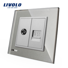 Manufacture Livolo,Grey Glass Panel, 2 Gangs Wall Computer and TV Socket / Outlet VL-C791VC-15, Without Plug adapter