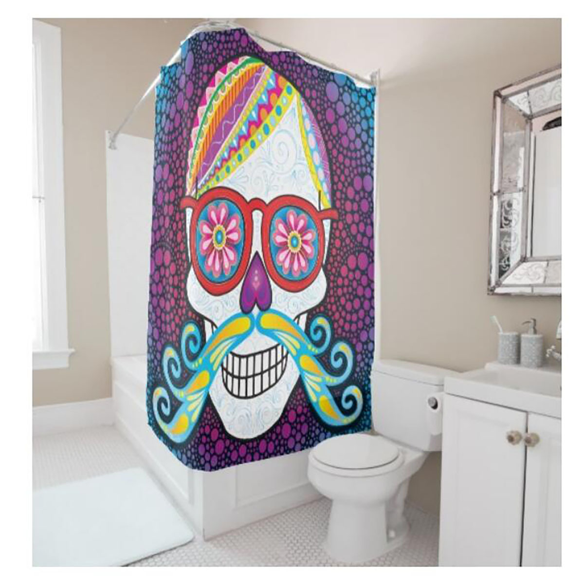 Mustache shower curtain - Creative Personalized Multicolor Mustache Eyeglass Skull Digital Printing Shower Curtain Polyester Waterproof Bathroom Curtain China