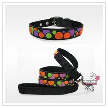 for Pet Product Dots Designer Pet Collar Lead Leash Small Large Dog Collar Leash PVC Nylon Leather 6 Colors Wholesale Dog Collar