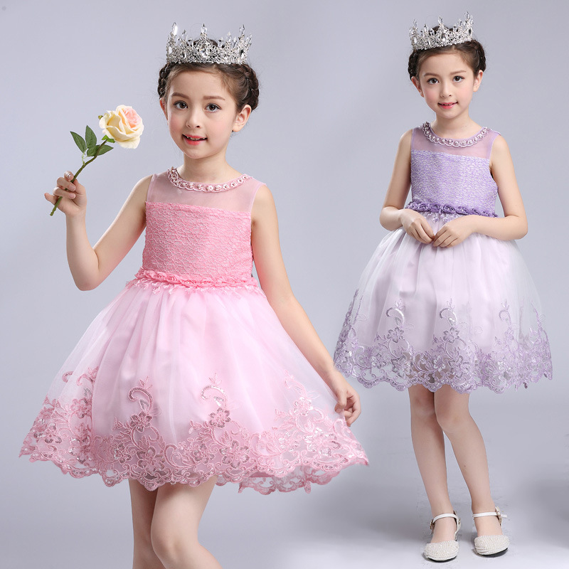 YNB High Quality Children Girl Princess Dress Kids Sleeveless Dresses for Girls Blue White Purple Pink Formal Children Clothes<br>