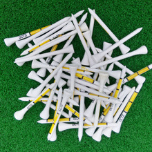 50pcs 70MM White Wooden golf Ball Tees Yellow Printing Golf Tee New