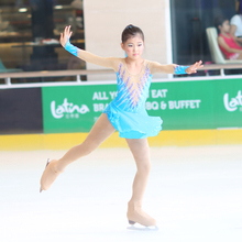 Customized Costume Ice Figure Skating Gymnastics Dress Competition Adult Child Girl Skirt Performance Blue Purple Rhinestone