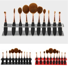 10 Grids Makeup Brush Set Storage BoxFoundation Powder Cosmetic Brushes Display Holder Stand Shelf Plastic Storage Box Organizer