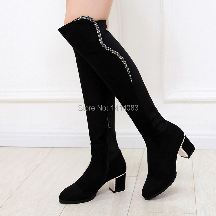 Leisure time Winter warm over knee high boots pointed toe diamond decoration side zipper med heels fashion women riding boots<br><br>Aliexpress
