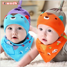 0-8Month Baby Cap&Bibs Suit  Cotton One Sets Cute Teddy Bear Cartoon Caps Triangle Towel Bibs Newborn Infant baby Hats&bibs Sets