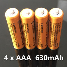 Free shipping!Hi-Power  4 x AAA /1.2V  630mAh Rechargeable NiHM Battery Charging times or1200 times