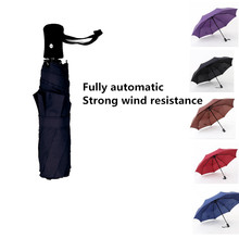 2017 New Durable Umbrella Automatic Three Fold Large Anti-wind Umbrella Aince The Opening 8K Bone Clear Umbrella Gift Umbrella