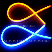 2014 NEW 2x Dual color flexbile universal led LED daytime running light / 600mm auto headlight strip White Blue Yellow(China)
