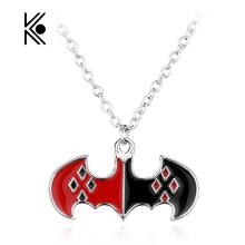 Free Shipping Movie Superhero Batman Harley Quinn Peugeot Fashion Pendant Necklace With Silver Plated Gift Movie Jewelry(China)