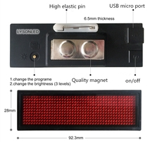 LYSONLED 2pcs/lot 44x11 Dots Single Red Color Rechargeable Led Name Badge , 44x11 Pixels Single Red color LED Name Tag(China)