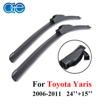 1Pair Windscreen Wiper Blades For Toyota Yaris 2006 2007 2008 2009 2010 2011 24''+18'' High Quality Natural Rubber Windshield