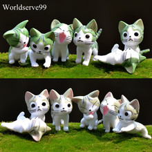6pcs Cute Cat Cartoon PVC Resin Carft Bonsai DIY Zakka Garden Decor Ornament Miniature Figurine Plant Pot Fairy Micro Landscape
