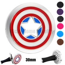 Captain America Logo 30mm Aromatherapy / Essential Oils Stainless Steel Perfume Aromatherapy Locket Necklace drop shipping(China)
