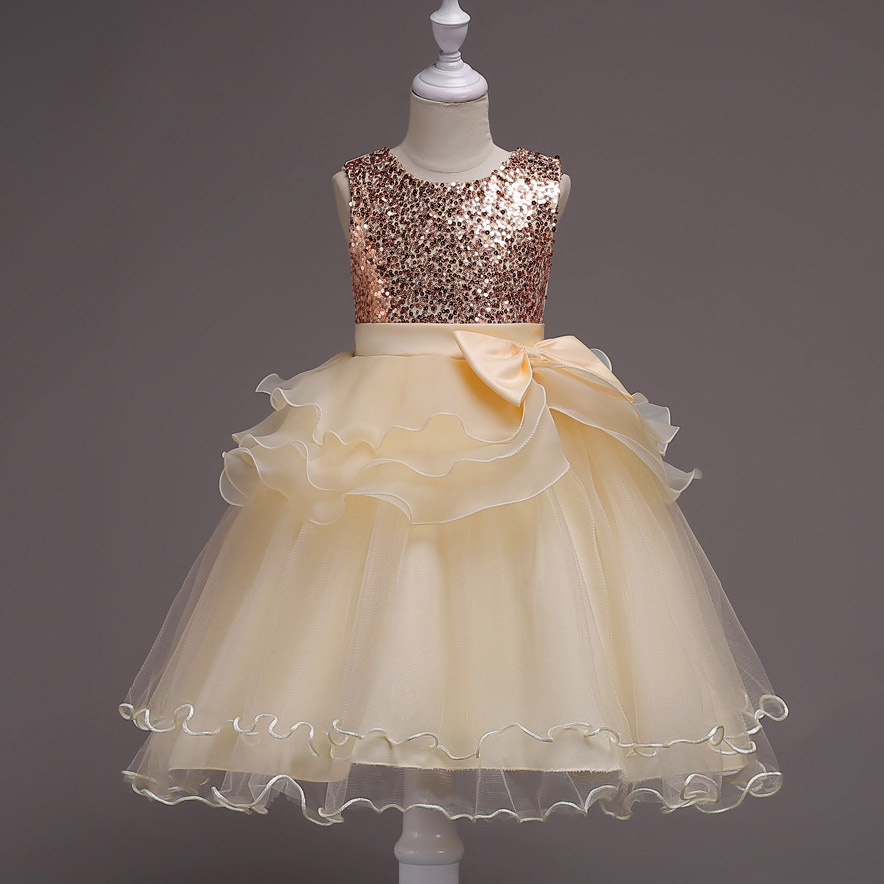 Bling summer Teen Girls Frock designs Layered Princess Dress Events costume Wedding Party Dresses For 2 4 6 8 10 12 14 Years<br>