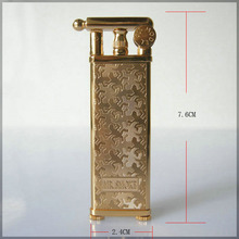 Japan MR.SMOKE Brand Copper Gold thin wheel kerosene oil lighter,personality men's cigarette lighter, gift(China)