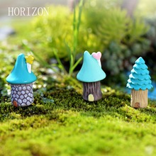 3pcs/Set Vintage Blue House Miniature Mini Craft Fairy Garden Micro Landscaping Decor Home Decoration Accessories