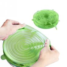 6Pcs Food Preservation Cover Universal Silicone Stretch Bowl Stopper Cover Suction Pot Lids Kitchen Cooking Pan Cover(China)