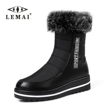LEMAI Big size 35-44 Short snow boots high quality thick fur winter ankle boots for women zip platform shoes waterproof botas(China)