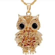 New Brand Charms Owl Necklaces&Pendants Vintage Crystal Gem Cubic Zircon Diamonds Gold Long Chain Necklace Women Jewelry