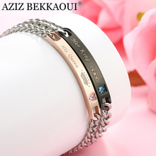 Drop Shipping Unique Her King & Her Queen Couple Bracelets Sweet Crown Crytal Heart Charm Bracelets For Women Men Best Gift(China)