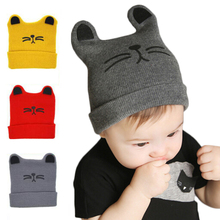0-12 Months Baby Hat Cap Winter Autumn Cotton Beanie Toddler Infant Baby Girls Boys Knitted Hats&Caps bone(China)