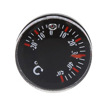 1 PC Diameter 20mm Thickness 6mm Plastic Thermometer Circular Thermograph  Celsius Fahrenheit Indoor Outdoor Black Color