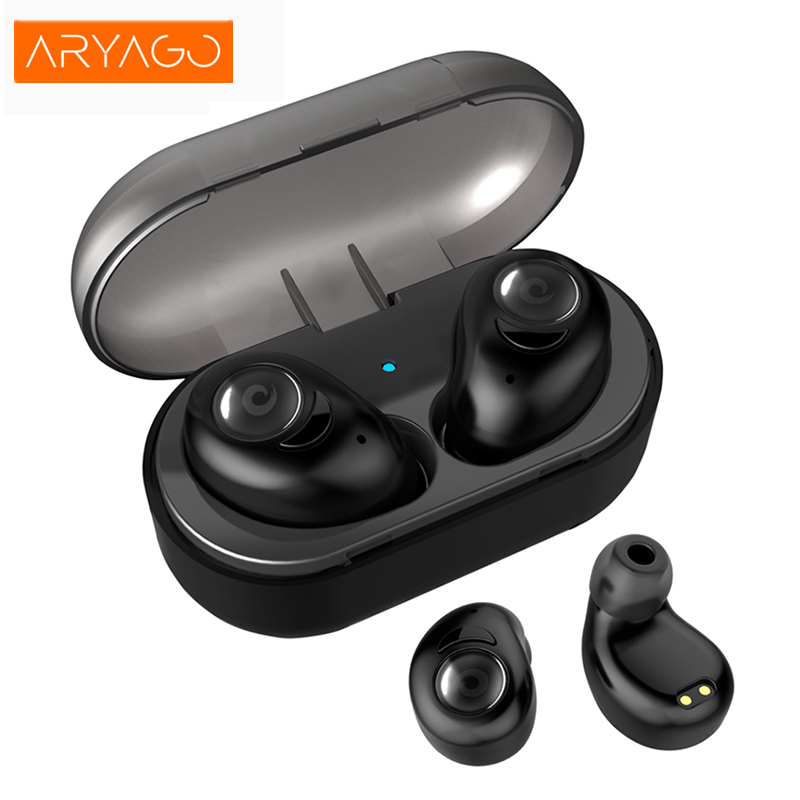 ARYAGO Wireless Bluetooth Headset High Quality Stereo Mini In-Ear Earphones with Mic Charging Box for IOS Android Smart phones<br>