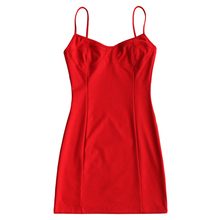 Buy ZAN.STYLE Slip Bodycon Club Dress Solid Red Halter Strap Slim Party Dress Sexy Mini Dress Summer Sheath Sleeveless Women Dresses