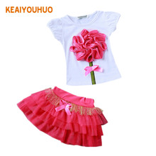 2017 New Casual Children Outfits Tracksuit Summer Clothing baby girls Floral t-shirt + girls tutu skirt Suit girls Clothing Set(China)