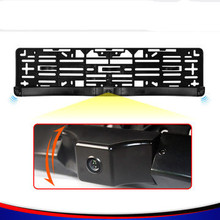 parking video 3 in 1 car detection sensor parking license plate frame 2 sensor+ 1HD CCD ccd universal rear view camera monitor(China)