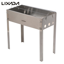 Lixada Outdoor Stainless Steel Hiking Camping Portable Charcoal Grill Picnic BBQ Grill for Barbecue & Sliver