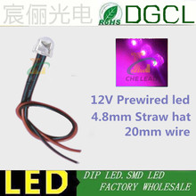 DC12V led DIY Pre Wired led PINK 5mm dip led 20mm cable led 4.8mm Straw hat prewired leds(China)