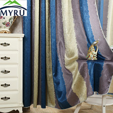 MYRU Luxury European Duolaimi curtain  colorful striped printing modern minimalist window curtains for bedroom and living room
