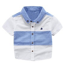 Summer Boys Shirts Short Sleeve Kids Shirts for Boys Fashion Patchwork Shirt Kids Blouse Tops Children Clothing
