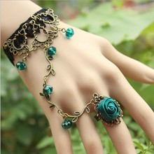 Women Hand Chain Ring VineRetro Vintage Style Rose Flower Stone Lace Bracelet Statement Party Charm Bangle Fast Free Shipping