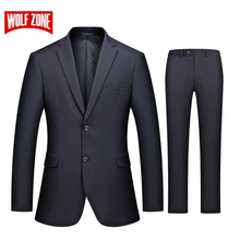 WOLF ZONE Brand Business Casual Luxury Suit Men Slim Fit Suits with Pants 2 Piece Wedding Blazer Mens Formal Party Jacket(China)