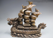 wholesale factory Chinese Feng Shui BRASS Copper Dragon Plain Sailing Boat Auspicious Statue Redial Dial Rotary(China)