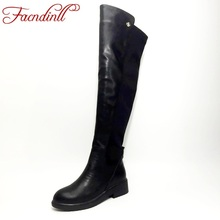 FACNDINLL metal decoration black microfiber leather+stretch fabric flat knee high women boots autumn winter warm boots platform(China)