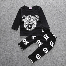 Boys Cotton Causal Clothing Sets Baby Girl Toddler Long Sleeve Suit T Shirt+Pants 2pcs Set Milk Bottle Letters Children Outfits