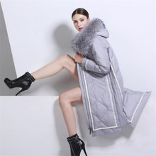 The anti season Europe jacket female models in the long section of big raccoon fur collar down cotton slim size cotton thickened(China)