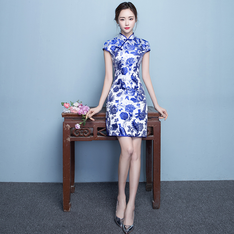 Chinese Style Dress Modern Qipao Woman Ceremony Cheongsam Grace Blue And White Evening Gown Qi Pao Vestido Oriental Dresses