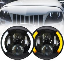 2PCS 120W 7 Inch DOT LED Headlight with White/ amber Turn Signal DRL For Jeep Wrangler Jk TJ Hummer Harley