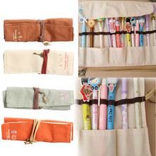 2016 Popular Canvas Bag Holder Wrap Roll Up Stationery Pen Brushes Makeup Pencil Case Pouch Storage Case Hogard