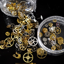 Punk Fashion Ultra-thin Steampunk Gear Design Nail Studs Gold Silver 3D Steam Punk Metal Machine Parts Nail Decoration N02(China)